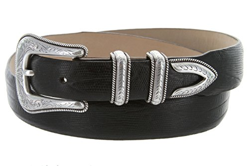 Brenton - Men's Italian Calfskin Designer Dress Golf Belt with Western Silver Plated Buckle Set (38 Lizard Black)