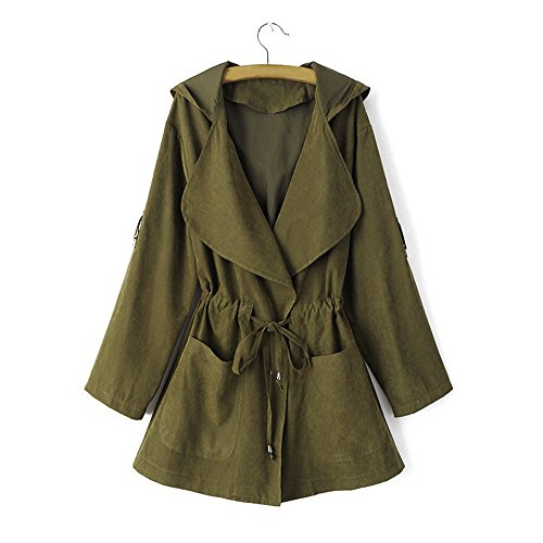 NEW !!! MOSE Fashion Women Casual Long Sleeve Jacket Windbreaker Parka Hooded Cardigan Coat With Pocket (M, Green) Free Jacket Patterns