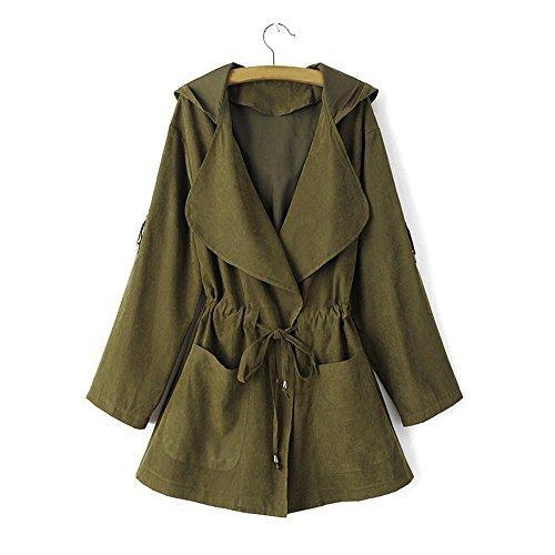 NEW !!! MOSE Fashion Women Casual Long Sleeve Jacket Windbreaker Parka Hooded Cardigan Coat With Pocket (M, Green) Free Jacket Patterns