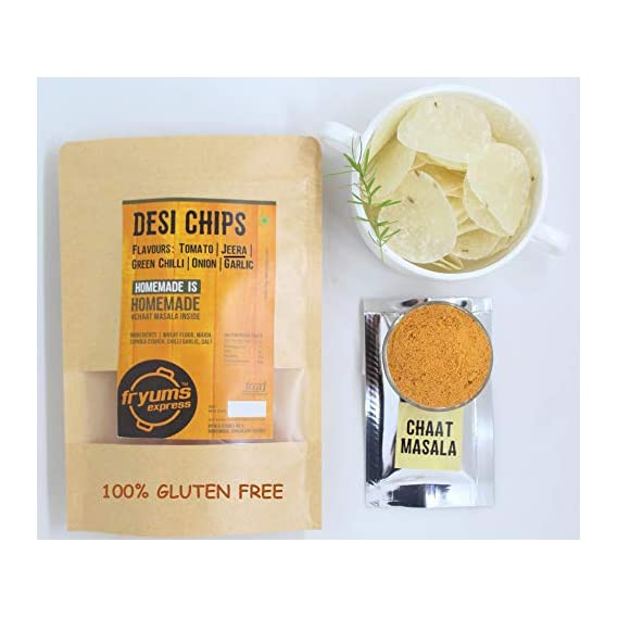 Fryums Express Desi Chips (Cumin/Jeera) with chaat Masala. All Natural
