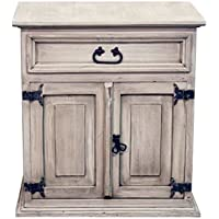 Rustic White Washed Mansion Nightstand -Western - Real Wood - Bedside Table