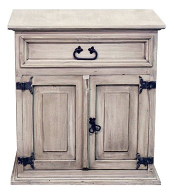 Rustic White Washed Mansion Nightstand Western