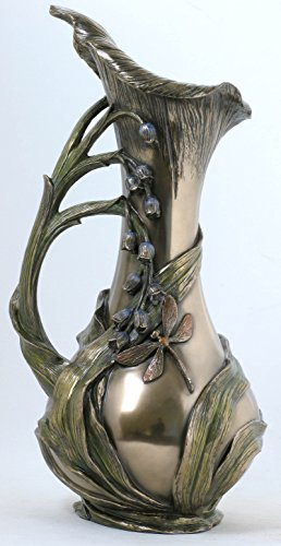 13 Inch Pitcher with Bluebells Dragonfly and Stemmed Handle Dragon Vase