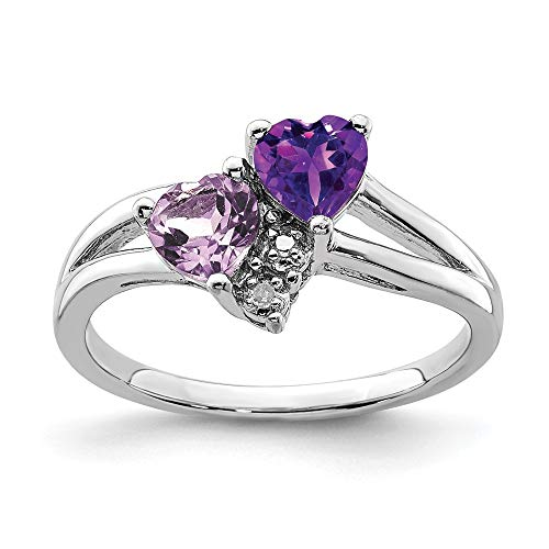 925 Sterling Silver Purple Amethyst Pink Quartz Diamond Band Ring Size 6.00 S/love Gemstone Fine Jewelry Gifts For Women For Her