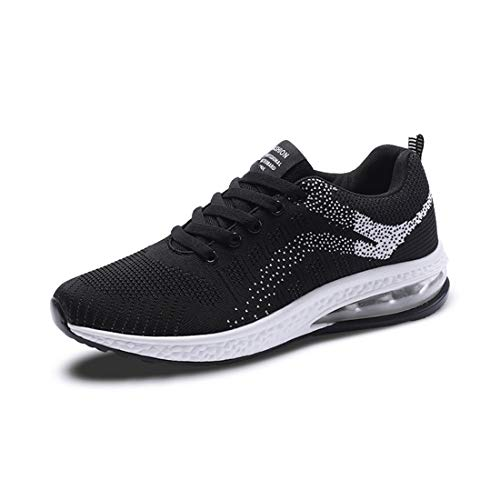 Active Workout Cushioning Woven Up Lace Running Exercise Sneakers Air white Gym SEVENWELL Sneakers Breathable Outdoor Cozy Shoes Max Unisex Black wv7Sp7