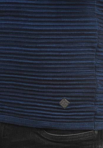Hombre Para Bibo solid Cuello Redondo Grueso Jersey Insignia Con Melange 8991 De Suéter Sudadera Punto Blue 088wdR