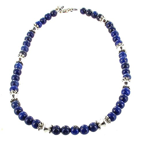 Timeless-Treasures Womens Lapis Lazuli & Sterling Silver Ladies Beaded Gemstone Anklet with Daisies - (Lapis Treasure)