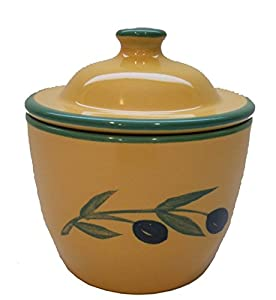 Cooks Innovations Ceramic Garlic Keeper - Hand Painted With Decorative Olive Design - Yellow & Green from Cooks Innovations