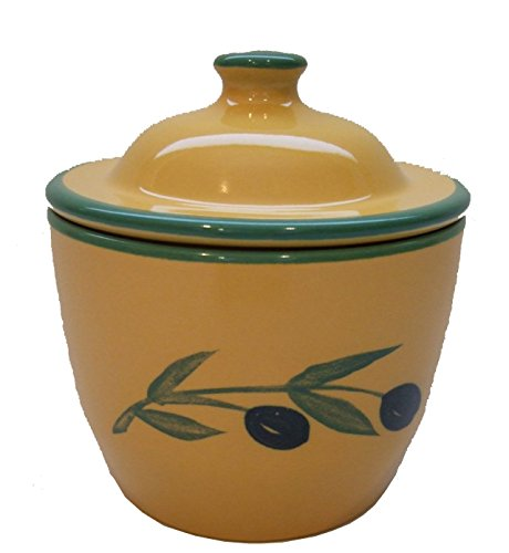 Cooks Innovations Ceramic Garlic Keeper - Hand Painted With Decorative Olive Design - Yellow & Green