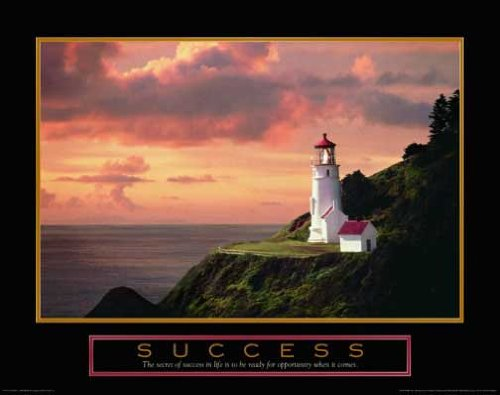 Success Lighthouse Office Motivational Poster Framed 8x10
