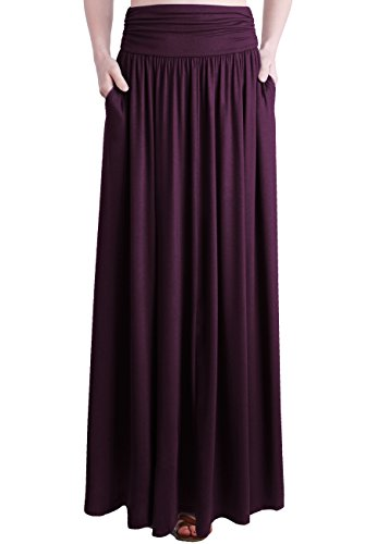 TRENDY UNITED Women's Rayon Spandex High Waist Shirring Maxi Skirt with Pockets,Dark Wine,XX-Large -