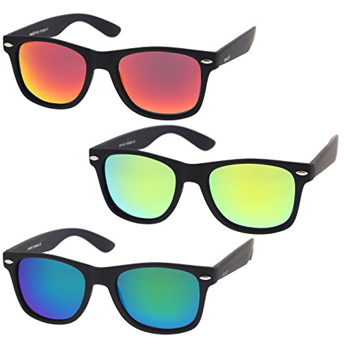 zeroUV - Rubberized Frame Reflective Mirror Polarized Lens Square Horn Rimmed Sunglasses 55mm (3 Pack Polarized | Red - Square Cheap Sunglasses