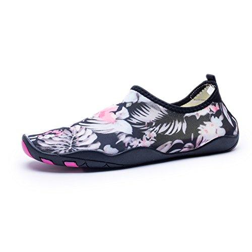 Kitleler Wasser Schuhe für Männer Frauen Barfuß Quick-Dry Aqua mit Drainage Loch für Strand Yoga Schwimmen Flora