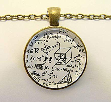 Math Equation Necklace - Geometry, Algebra and Calculus Necklace, Cubes, Angles and Triangles, Mathematics Art -