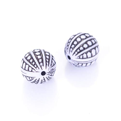 (Calvas Fluted Corrugated Vintage 12mm Round Shape Acrylic Antique Design Spacer Loose Beads for DIY Handmade Jewelry Making Accessories - (Color: White with Black))