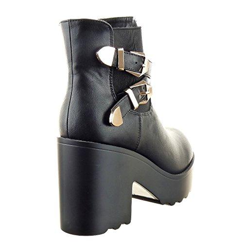 Sopily - Scarpe da Moda Stivaletti - Scarponcini chelsea boots alla caviglia donna fibbia multi-briglia Tacco a blocco tacco alto 9.5 CM - soletta sintetico - foderato di pelliccia - Nero