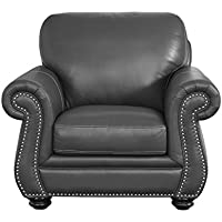 Abbyson Living Austin Leather Accent Chair in Gray