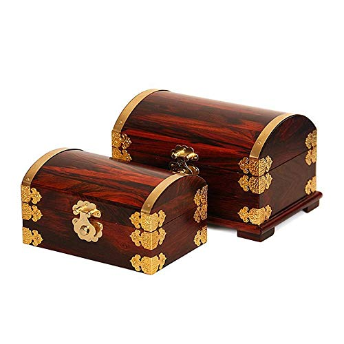 YSHYT Mahogany Jewelry Box - Antique Style - Interior Dressing Mirror Design - Feet on The Bottom - Two Outfits, Ladies