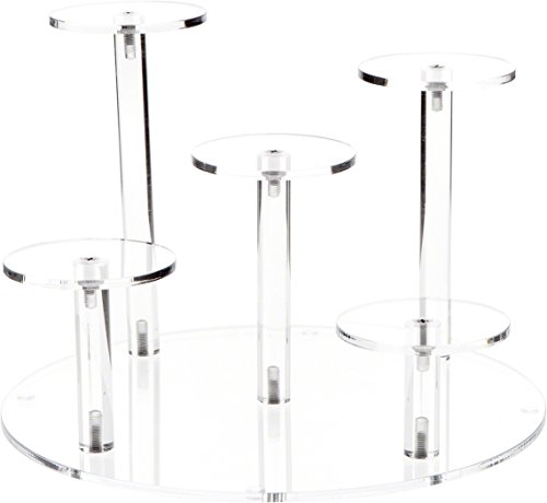 Plymor Clear Acrylic Round 10 Base Display Riser with 5 Round 3 Display Pedestals, 7 High