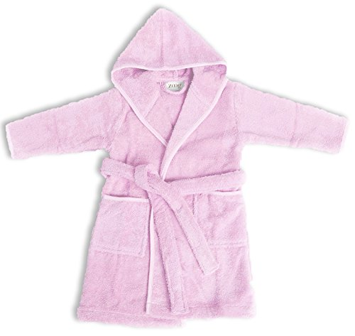 Zoog Organic Cotton Hooded Baby Bath Robe Natural Dye Premium Quality GOTS Certified Non-Chemical Non-Toxic 100% Vegan Soft Comfortable Pink (2-3 Years, Pink)