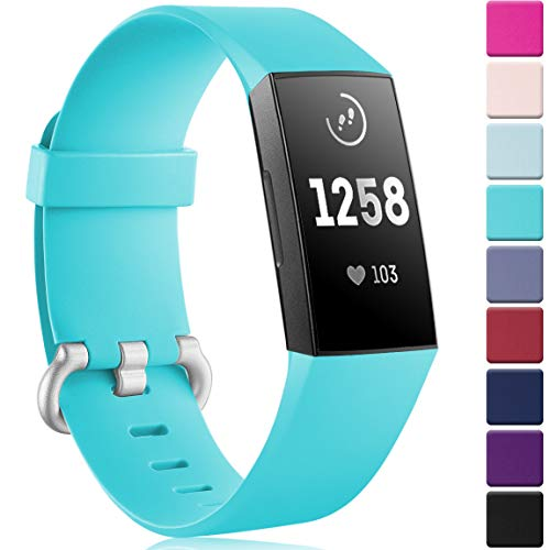Maledan Bands Replacement for Fitbit Charge 3 and Charge 3 SE Advanced Fitness Activity Tracker, Soft Classic Bracelet Sport Strap Wristband for Women Men, Small, Teal