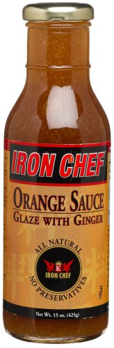 (IRON CHEF Orange Sauce Glaze with Ginger, All Natural, Kosher, 15-Ounce Glass Bottles (Pack of 3))