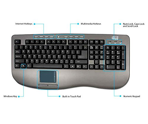 Glidepoint Usb Button Touchpad (Adesso Akb-430Ug Win-Touch Pro Desktop Keyboard With Glidepoint Touchpad