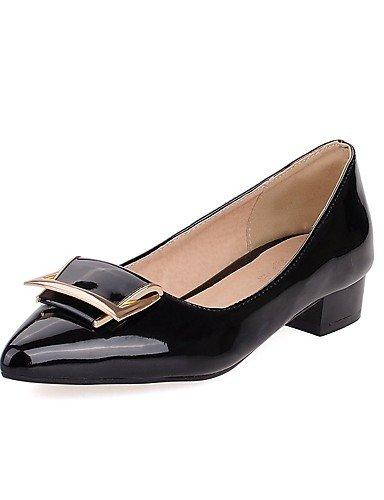 GGX/ Zapatos de mujer-Tacón Robusto-Confort / Puntiagudos-Tacones-Oficina y Trabajo / Casual-Cuero Patentado-Negro / Azul / Rojo / Blanco , red-us10.5 / eu42 / uk8.5 / cn43 , red-us10.5 / eu42 / uk8.5 black-us9 / eu40 / uk7 / cn41