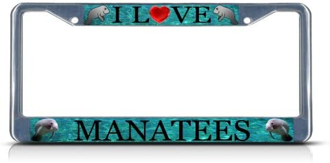 Fastasticdeals I Love Manatees License Plate Frame Tag Holder Cover