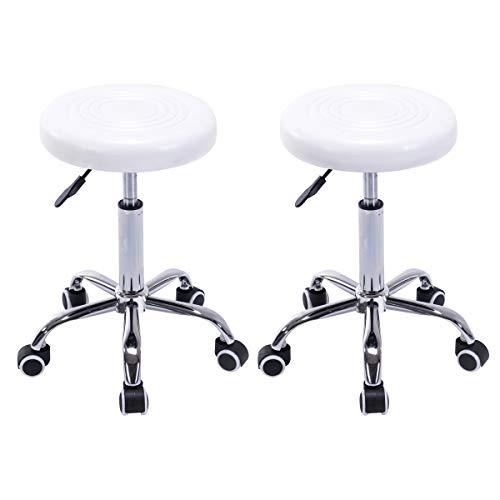 Pvc Seat White (COSTWAY Rolling Stool Ergonomic Swivel Adjustable Hydraulic Drafting Salon Massage Spa Stool with Comfortable Larger Cushioned Seat, Chrome Metal Base (White Set of 2))