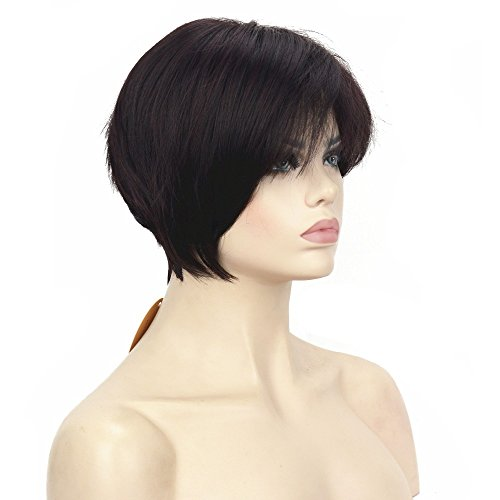 - HJYS Wig in Beauty Wigs Asymmetric Inclined Bangs Black Short Straight Bob Natural Synthetic Full Wig 8 Color