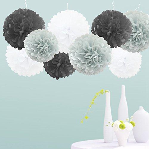 Craft World Kit (Nature World 18pcs Tissue Hanging Paper Pom-poms, Flower Ball Wedding Party Outdoor Decoration Premium Tissue Paper Pom Pom Flowers Craft Kit (Black Shade))