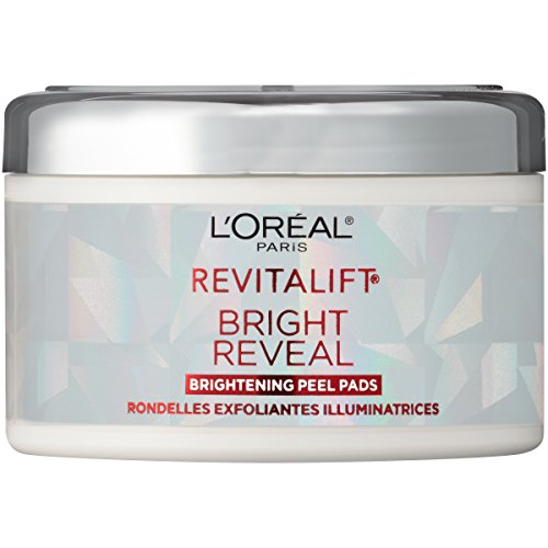 (L'Oreal Paris Revitalift Bright Reveal Anti-Aging Peel Pads with Glycolic Acid Exfoliating Facial Pads to Reduce Wrinkles and Brighten Skin for All Skin Types 30 ct. White)