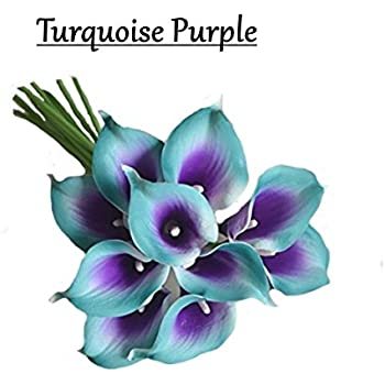 10pc set real touch calla lily keepsake artificial flower perfect for cut to make boutonniere corsage bouquets blue turquoisepurple