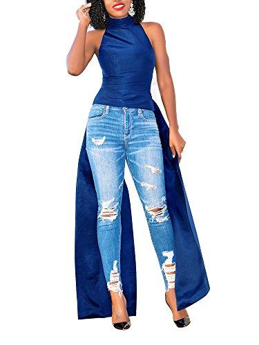 PerZeal Women's Bodycon T-Shirt Dresses Summer Casual High Neck Sleeveless Top Blue