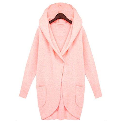 Suéter Pink Capa Suelta Blusa Larga Manga Chaqueta Outwear Mujeres wxUqH8pn