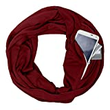 FarJing Unisex Lovers Winter Solid Color Warm Loop Scarf Zippered Secret Pocket Shawl (Wine 1)
