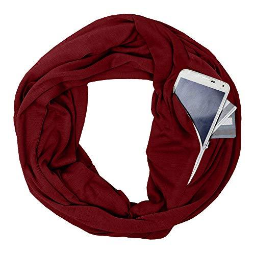 Womens Soft Blanket Scarf Stylish Cozy Tartan Scarves Warm Wrap Shawl Infinity Scarves with Zipper Pocket (Wine, Free Size :70.8X19.6 inch)