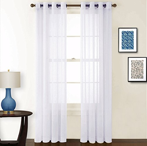 Crushed Panel (NICETOWN Sheer Curtains Voile Curtains - Crushed Sheer Window Treatment Voile Curtain Panels With Grommet Top for Girl's Room (2-Pack, 52 Wide x 84 inch Long, White))