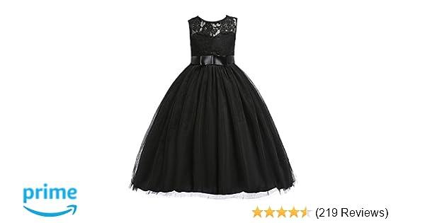 509cac9f7 Amazon.com  Glamulice Girls Lace Bridesmaid Dress Long A Line ...