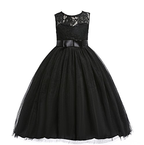 Glamulice Girls Lace Bridesmaid Dress Long A Line Wedding Pageant Dresses Tulle Party Gown Age 3-16Y (7-8Y, O-Black) ()
