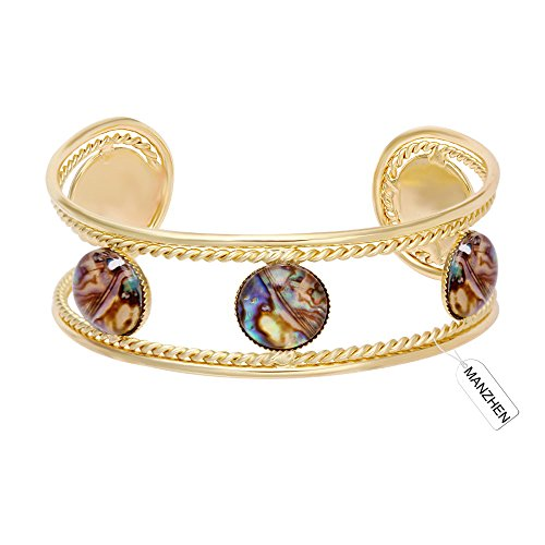 Abalone Cuff Bracelet - MANZHEN Double Open Cuffs Twist Wire Bangle Transparent Glass Abalone Shell Sea Shell Bangle Bracelet (Gold)