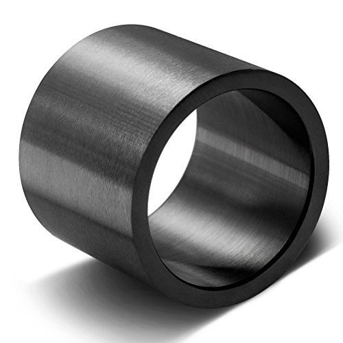 Mens Womens 19mm Black Wide Stainless Steel Ring Big Cool Band Full Circle Matte Finish Flat Top Size 10 (19mm Ring)