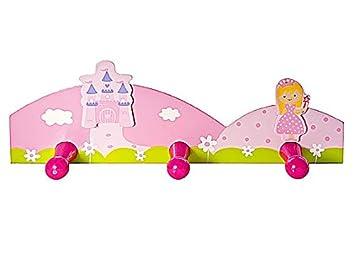 Triple gancho percheros de pared infantil hecho de madera en color rosa y decoración de princesas para la habitación de niñas y bebés