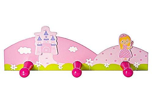Appendiabiti e appendini abiti triplo da muro per bambini con principessa rosa Gancio da parete per la cameretta o la stanza da letto di bambine Mousehouse Gifts MH-100362