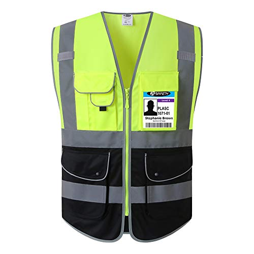 JKSafety 9 Pockets Class 2 High Visible Reflective Safety Vest Zipper Front Breathable Lining,Yellow-Black Meets ANSI/ISEA Standards(X-Large, Yellow-Black)
