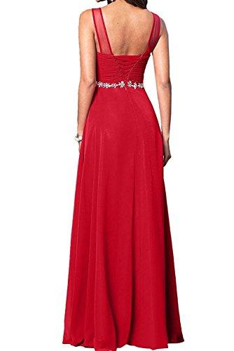 A Festlichkleider Blau Chiffon Linie Brautmutterkleider Bodenlang La Abendkleider Braut Marie Partykleider Damen RqUwR6z0xP