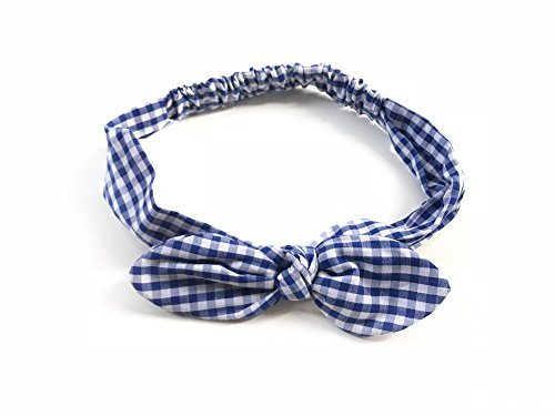Price comparison product image SWEET SERENITY (Blue and White) Gingham Plaid Checkered Women Elastic Headband Head Wrap Bow Rounded Rabbit Ears Bandana