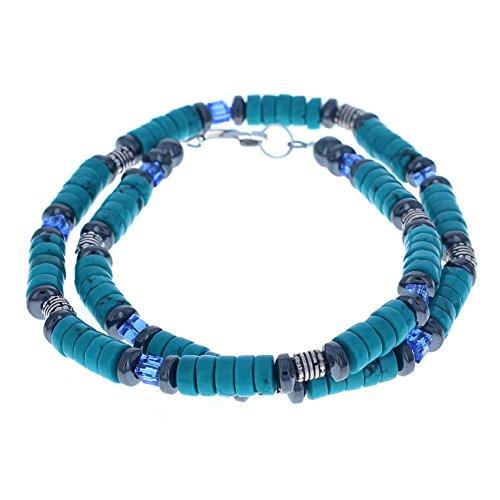 Mens Hematite (Hemalyke), Turquoise Magnesite & Blue Czech Crystal Glass Beaded Necklace - 16