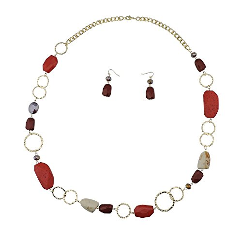 Bocar Fashion Long Chunky Cryastl Beads Necklace and Earrings Set for Women Gift (NK-10076-wine)